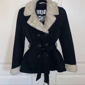 Black Jacket with Faux Fur Accents